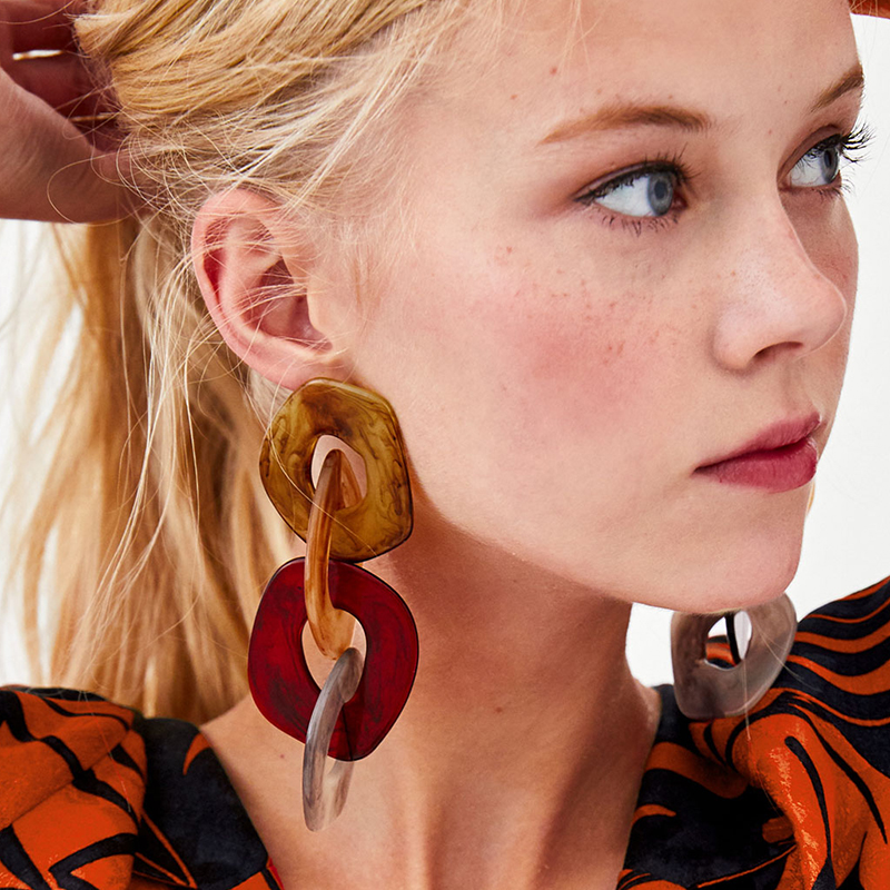 FASHIONSNOOPS 2018 New Ethnic Hyperbole Handmade Party Jewelry Earring Geometric Big Circle Long Drop Earrings For Women Girl