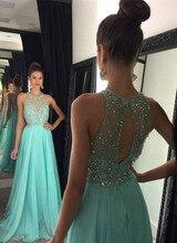 Schöne A Line Abendkleider 2016 Scoop Neck Weg Von der Schulter Perlen Backless Formale Abendkleider