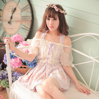 Princess Sweet Lolita Dress Candy Rain Japanese Style Sweet Princess Summer New Floral Fake Two Piece