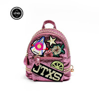 Women Backpack Youth Vintage Rose Sequins PU Leather Backpacks For Teenage Girls New Female School Bag