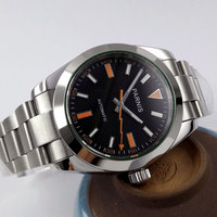 40mm Parnis Black Dial Orange Marks Stainless Steel Deployment Clasp Automatic Mechanical Men S Watch