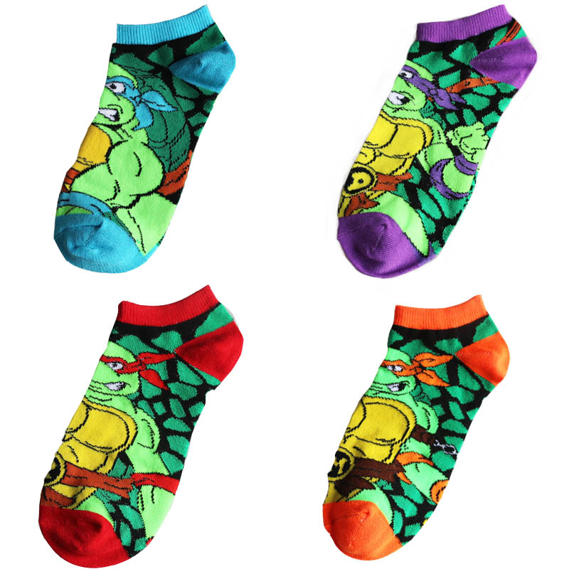 Ninja Turtle Socks Men  women w paragraph Cotton Spiderman Superman Batman Long Super Hero Socks Cartoon Candy Color Socks Gift