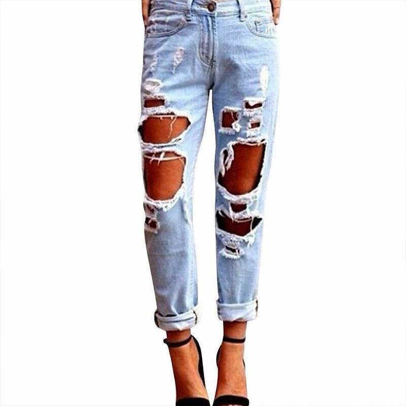 Новинка 2019, стильные женские сексуальные летние женские брюки с высокой талией, рваные джинсы, крутые облегающие брюки, синие джинсы