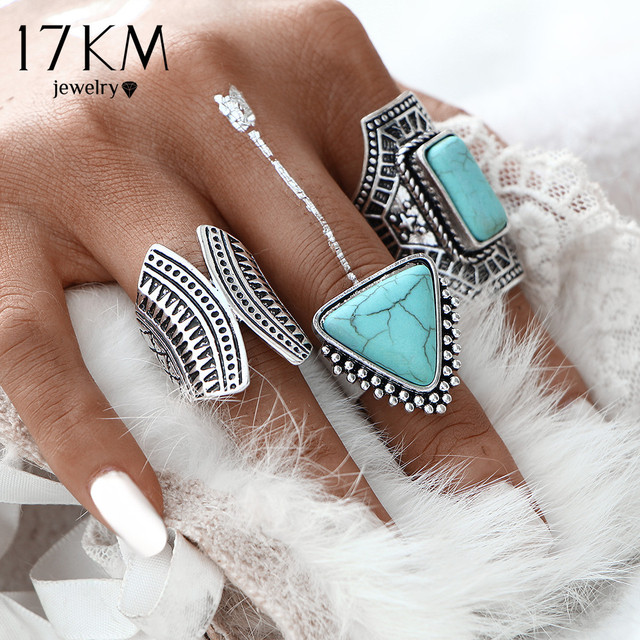 17KM 3pcs/Set Boho Vintage Punk Silver Color Stone Midi Finger Rings For Women /