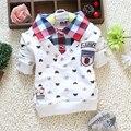 Primavera outono meninos roupas xadrez lapela da longo-luva de algodão dos desenhos animados camisetas crianças boy clothing tops roupa dos miúdos 2015024