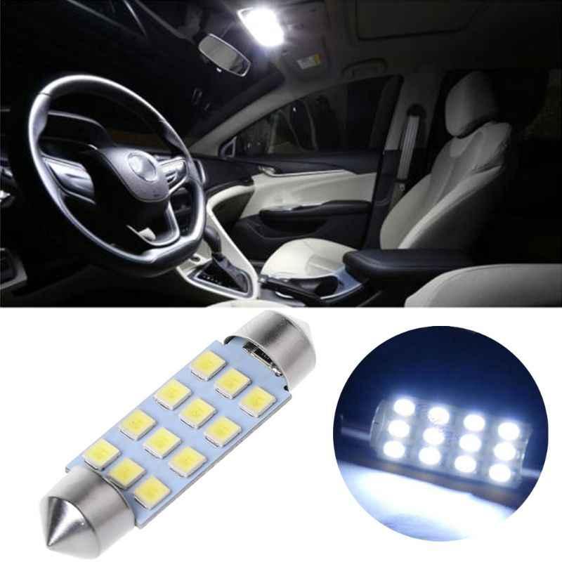41 مللي متر اكليل قبة 12-LED SMD 1206 لمبة إضاءة مصباح سيارة الداخلية الأبيض