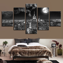 5 Pieces Canvas Prints Poster Pictures Surreal City Night Brightly Moon Landscape Paintings Living Room Decor Framework Wall Art(China)