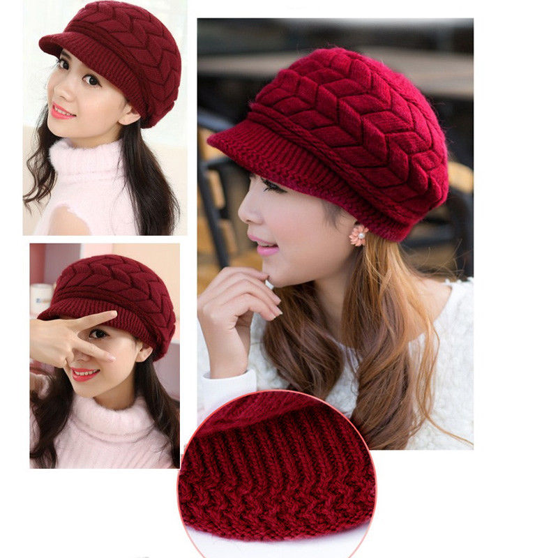 Fashion Lovely Cute Princess Casual Women Ladies Visors Caps Knit Solid With Fur Warm Hat 8 Colors Outfit Fall Winter
