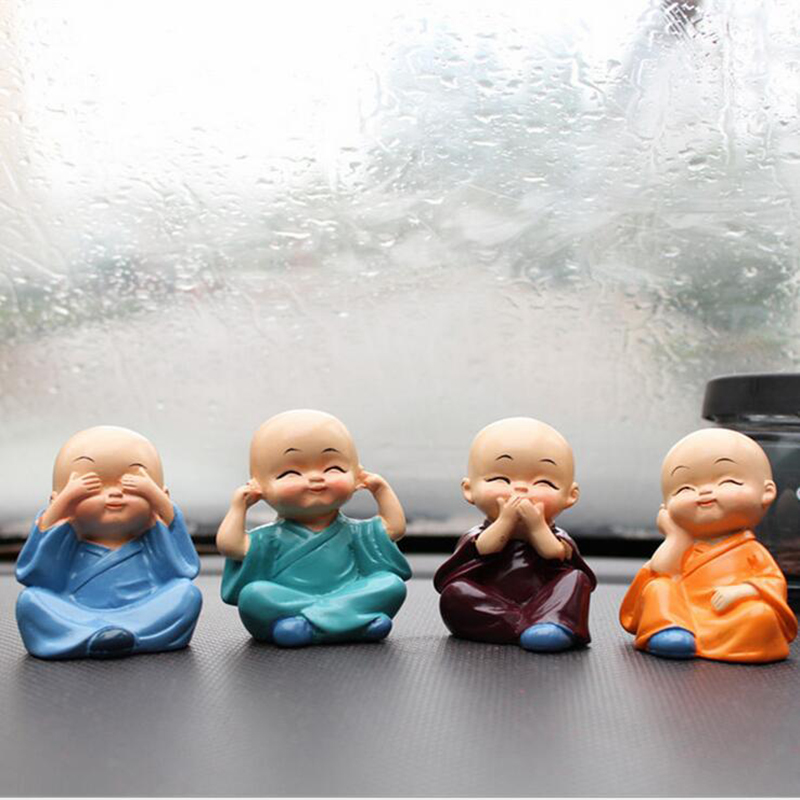 4Pcs Car Ornament Four Small Cute Monk Interior Display Decoration Auto Accessories Home Decorative Doll