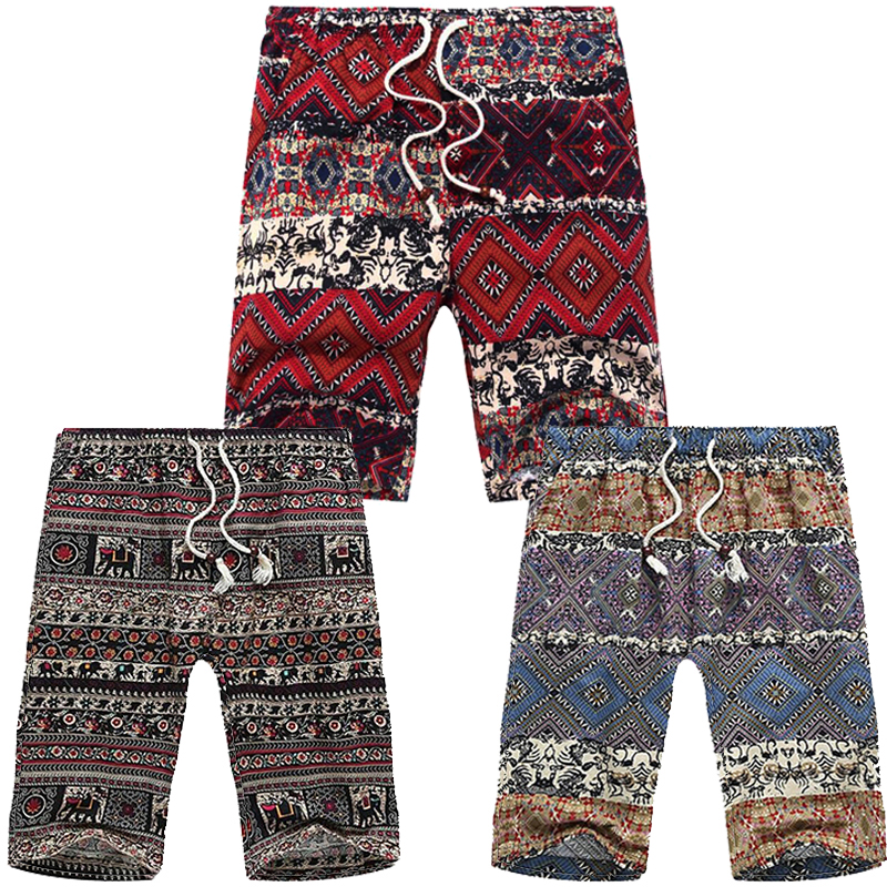 Africa Tribal Pattern Clothing Linen Drawstring Traditional African Print <font><b>Shorts</b></font> Men Plus Size 5XL <font><b>6XL</b></font> 7XL 8XL image