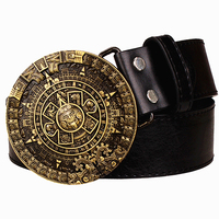 Personality Aztec Gold Belt Metal Buckle Round Solar Calendar Men S Leather Belts Punk Rock Belt