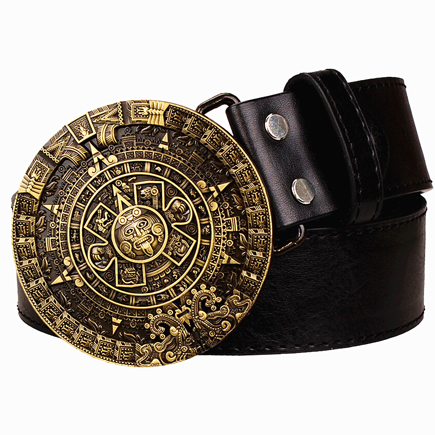 Personality Aztec Gold Belt Metal Buckle Round Solar Calendar Men's Leather Belts Punk Rock Belt Women Jeans Belt Hip Hop Girdle