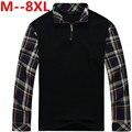 Más tamaño 8XL 7XL 6XL 5XL 2015 Nueva Camisa Para Hombre de Polo Marca de moda de Alta Calidad de Manga Larga Sólido Camisa de Polo Camisa de Polo Masculina