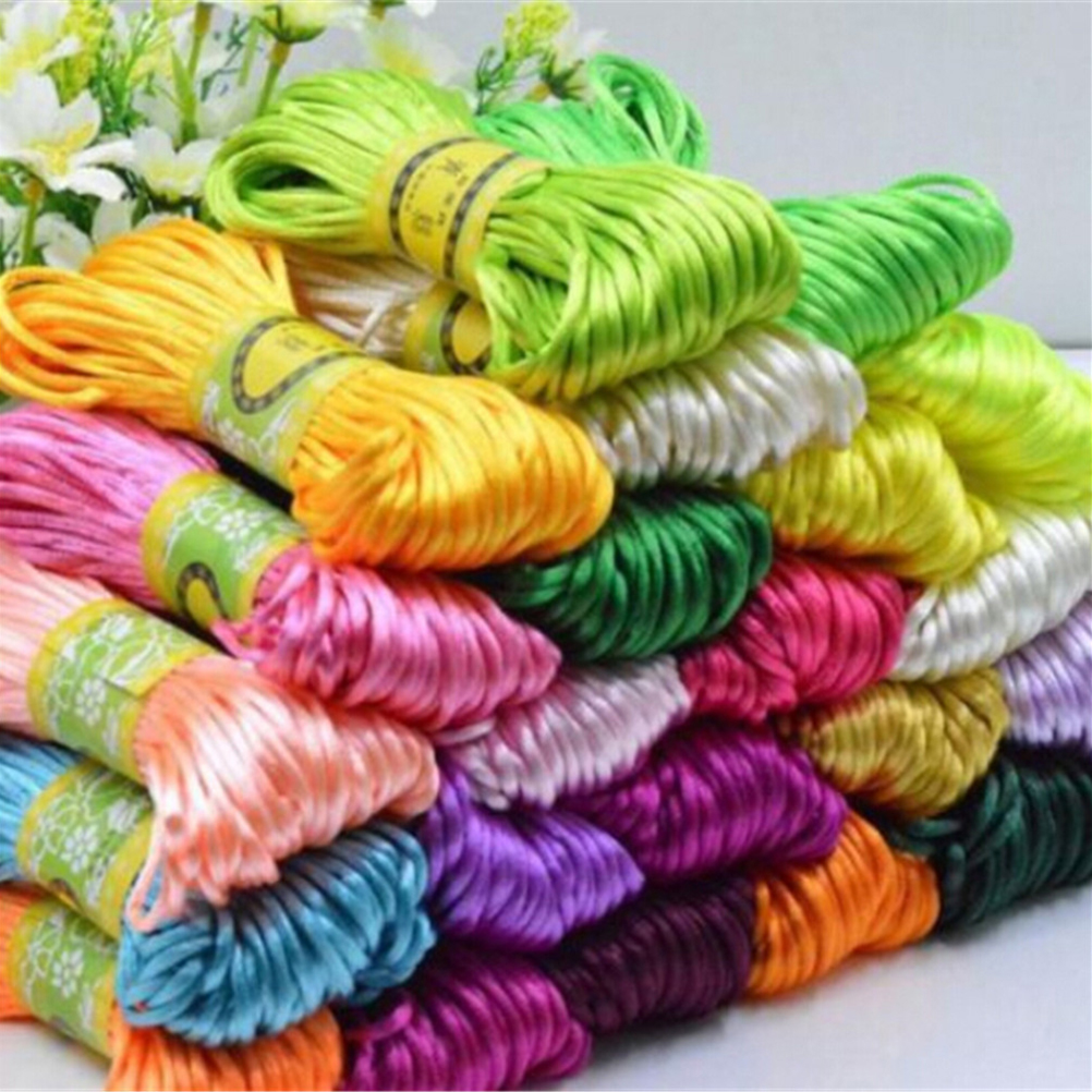 10m Soft Satin Nylon MultiColor Cord Solid Rope For Jewelry Making Beading Cotton Cord For Baby 2mm DIY Necklace Pendant