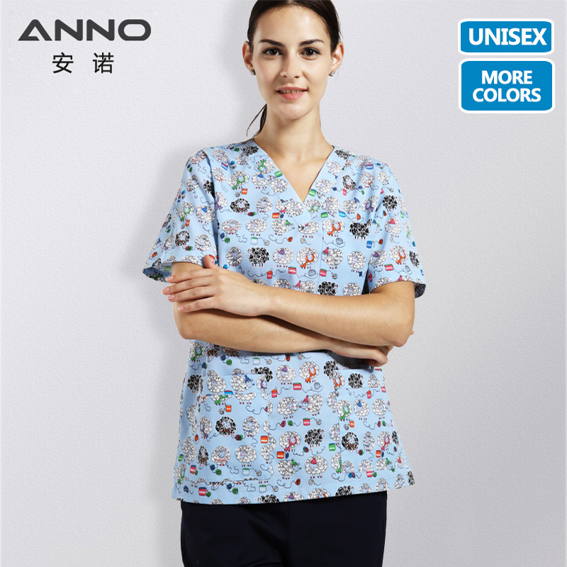 ANNO Medical Clothes With Cartoon Sheep Nurse Uniform V Neck Scrubs Set For Men Medical Uniforms Women Surgical Suit