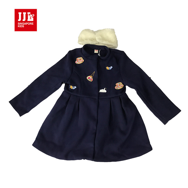 winter girls wool coat kids woolen jackets fur collar girls clothing child outwear x-length brand girls coats 2016