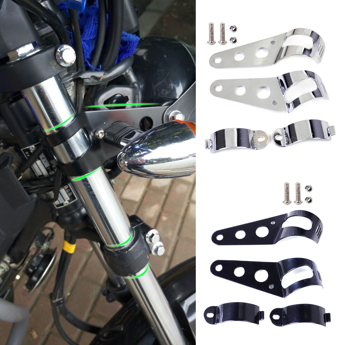 Dwcx 33 45mm motorcycles headlight mount holder brackets stands for harley honda kawasaki ninja yamaha suzuki bandit