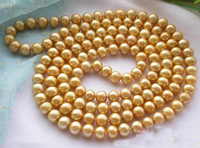New Arriver Real Pearl Jewellery,50'' Long AA 8 9MM Golden Round Freshwater Pearl Necklace,Fashion Women Birthday Gift