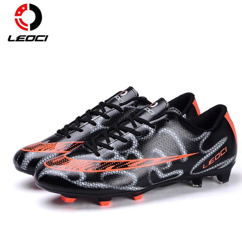 LEOCI TPR+EVA+PU Leather Outdoor Lawn Football Shoes FG Soccer Boots Chuteiras De Futebol For Adult and Kids Size 33-44 dr eagle original superfly football boots man football shoes with ankle soccer boots footbal shoes sock size 38 45 sneakers