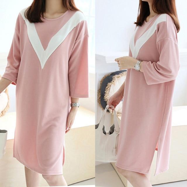 Korean Casual Pregnancy Nurse Wear Dress Clothing Maternity Breast ...