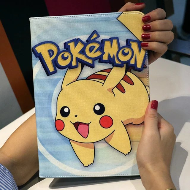 Flip Case Smart Cover For iPad Mini 1 2 3 7.9 Tablet Cute Pikachu Painted PU Leather Case Gift For kids Girl Mini2 mini3 pad