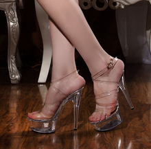 SALE 2015 Elegant Women's Shoes Crystal Wedding Shoes Sexy 15cm High Heels Sandals Transparent Sexy Clubbing Shoes