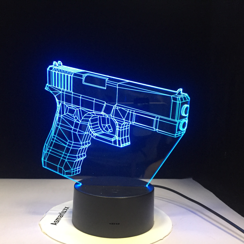 Infantry Night Light LED 3D Illusion USB Touch Sensor RGBW Child Kids Gift FPS Game Weapon Gun M4 AK 47 Table Lamp Desk