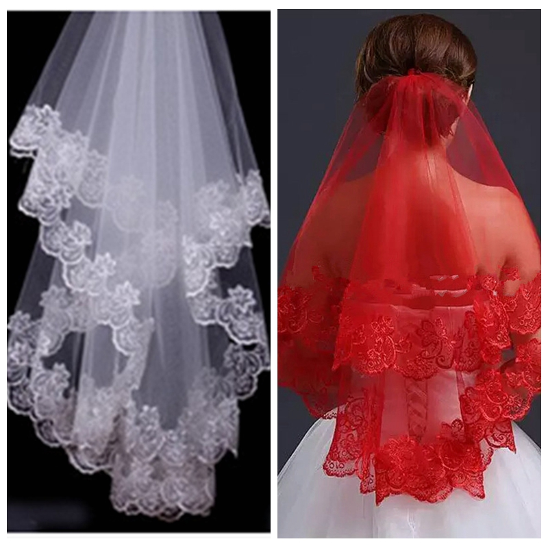 Long Wedding Hairstyles With Veil: Vintage Lace Appliques One Layer Bridal Veil 2019 Short