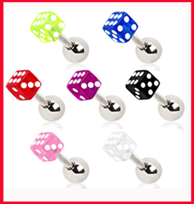 Retro 3mm Woman Men S Stainless Steel Dice Barbell Ear Piercing Studs Earrings Body Jewelry Fashion