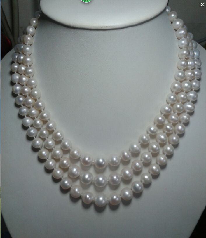 Triple brins 5-6mm mer du sud collier de perles blanches 18 19 20 livraison gratuiteTriple brins 5-6mm mer du sud collier de perles blanches 18 19 20 livraison gratuite