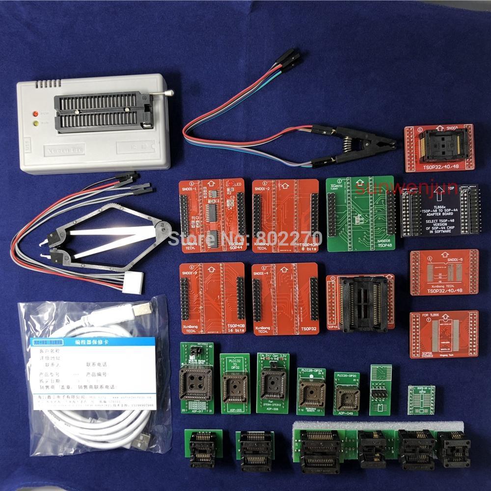 Black Edition V8.30 XGecu TL866II Plus Programmateur USB 15000 + IC SPI Flash NAND EEPROM MCU PIC AVR + 23 pièces ADAPTATEUR + SOIC8 Testclip