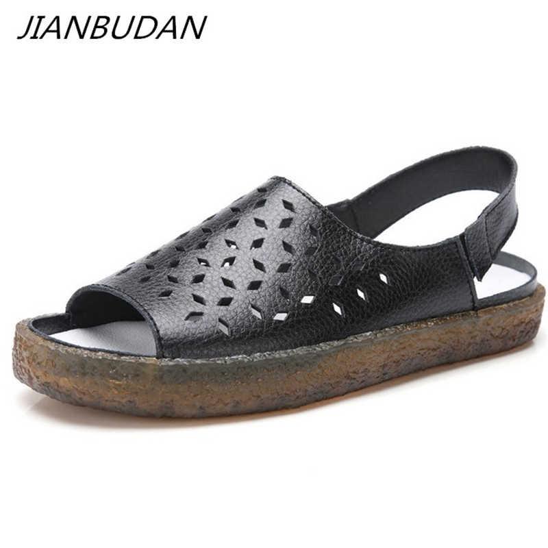 JIANBUDAN Platte comfortabele vrouwen zomer sandalen Open Teen Trendy Rome schoenen antislip leer vrouwen sandalen Maat plus 35-44