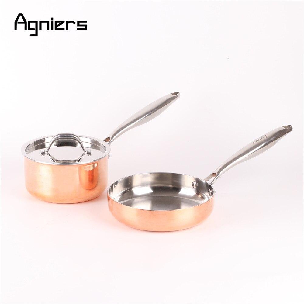Agniers High Quality 2pans 3pcs  cookware set Five-Ply copper clad steel 16cm Sauce pan + 20cm Frying pan