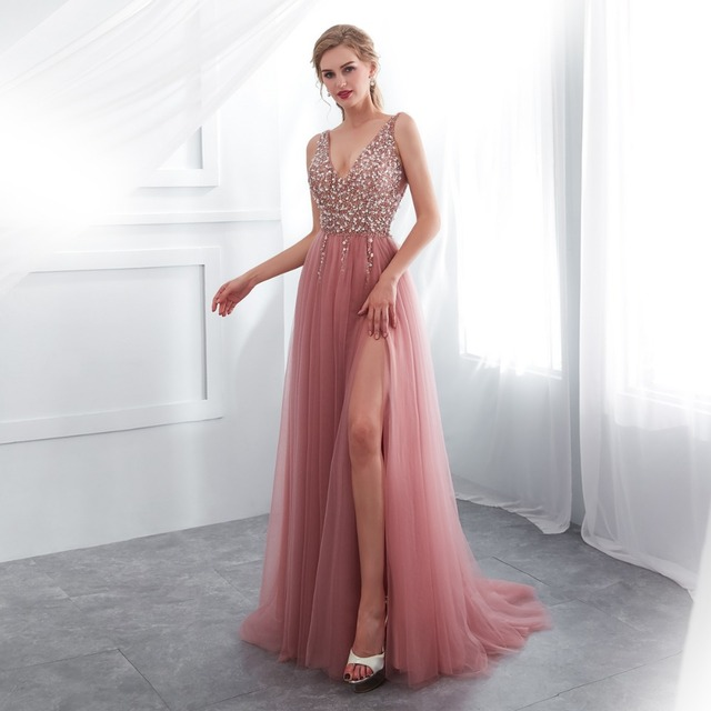 Beading Prom Dresses 2019 V neck Pink High Split Tulle Sweep Train Sleeveless Evening Gown A-line Lace Up Backless Vestido De 2