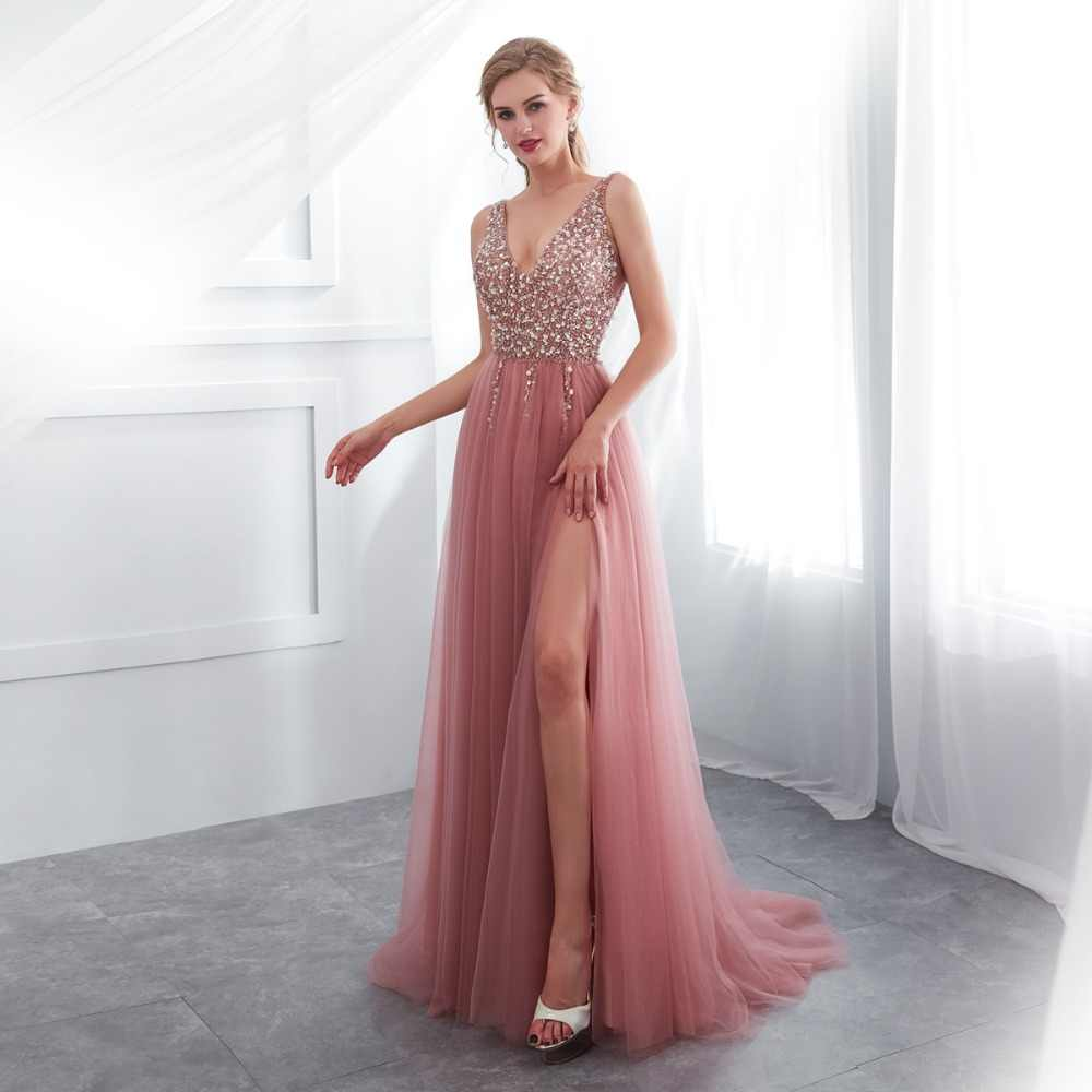 855f409008d ... Beading Prom Dresses 2019 V neck Pink High Split Tulle Sweep Train  Sleeveless Evening Gown A ...