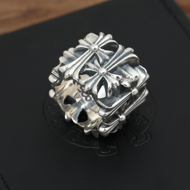 S925 Sterling Silver Retro Thai Silver Jewelry Domineering Men And Women Vintage Style Cross Ring s925 sterling silver vintage six buddhist mantra rotating personality ring ring and old thai silver jewelry