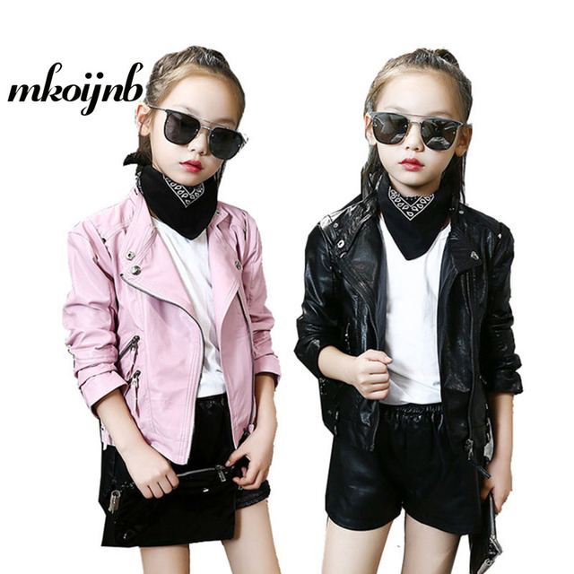 9d5d0cc5e US $35.03 |2018 Girls Zipper PU Leather Jackets For Children Clothing  Spring Autumn Motorcycle Bomber Outerwear 4 6 8 10 12 Years Girl Coat-in  Jackets ...