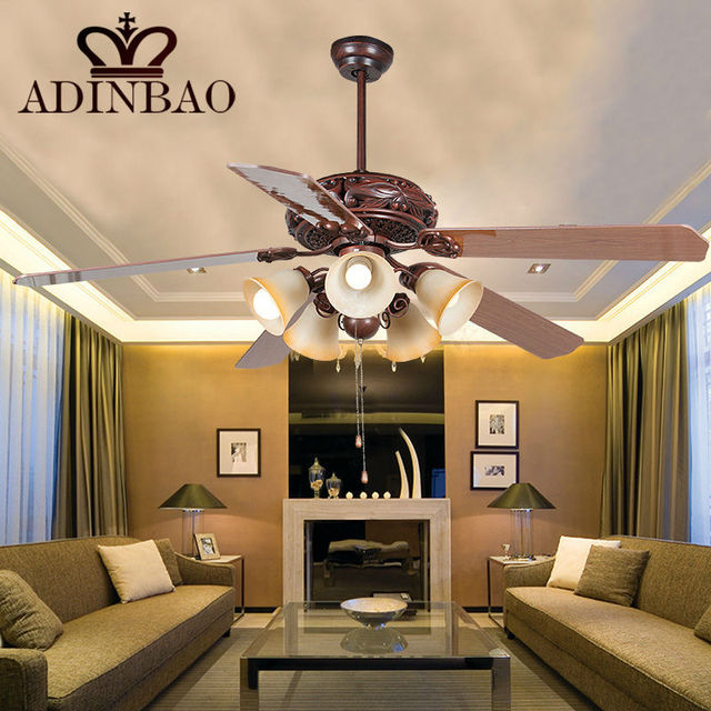 Red Antique Copper Color Big Ceiling Fan Light For Restaurant/hotel Strong  Wind XJ012
