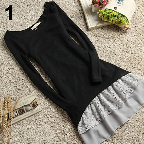 2Pcs Set Women Korean Casual Style Clothing Cotton Knitted Top Strap Lace Dress