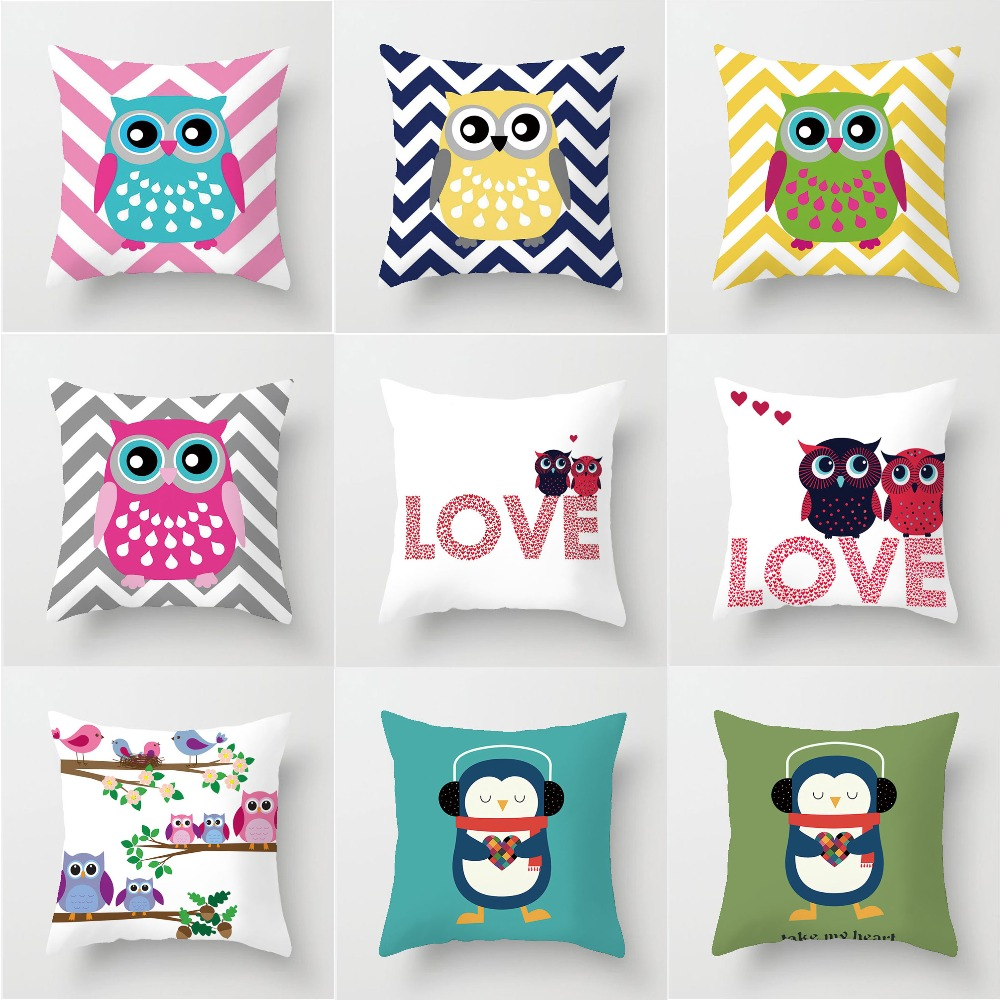 Slaapkamer Fabric Owl Kussenhoes Thuis Zoete Kussensloop Katoen Linnen Sunshine Super Soft Fabric Brief Kussen Sofa Slaapkamer Decoratieve Kussens In Cushion From Home