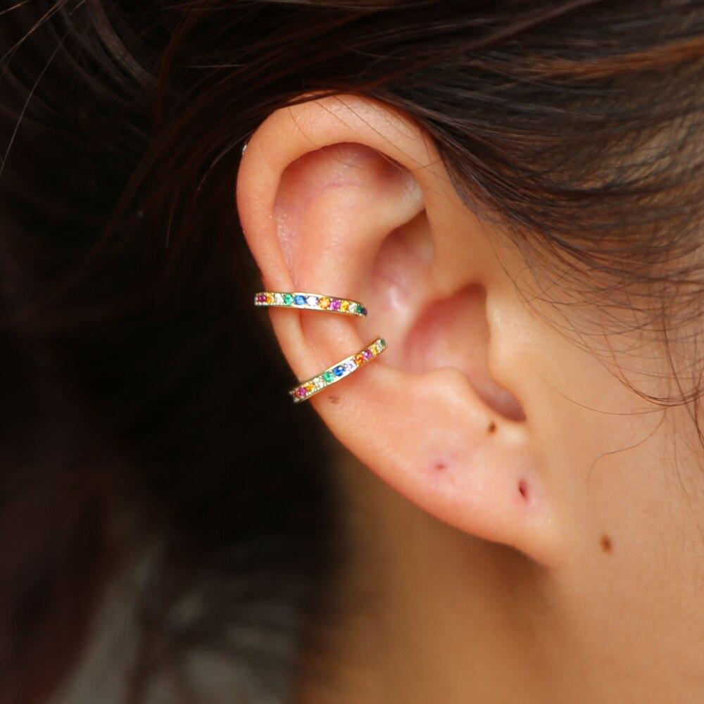 Clip-on Earrings No Pierced Non-piercing Earcuff Ear Clip Earrings Without Piercing 925 sterling silver with rainbow cz cuff