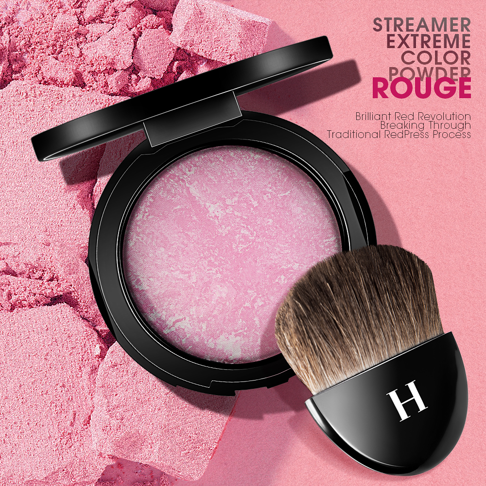 HENLICS Big Size Baked Blusher Palette Sweet Charming Cheek 3 Colors Mineral Blush with Make up brush Charming