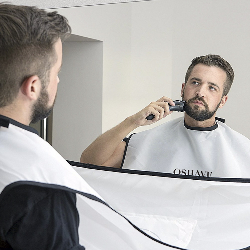 QSHAVE Beard And Moustache Catcher Apron Cape Bib For Shave With Suction Cups Attach To Mirror For Bearded White 130cm*82cm