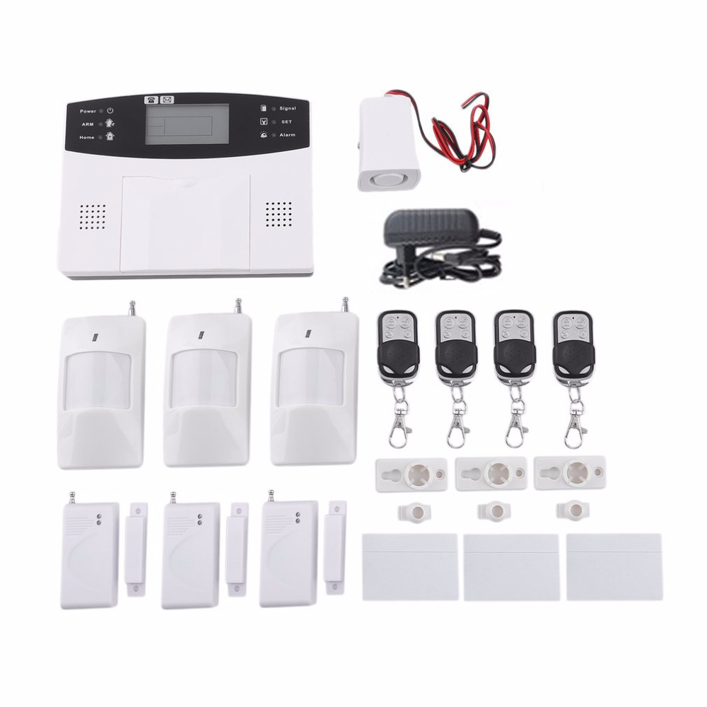 Metal Remote Control Home Security GSM Alarm systems Voice Prompt Wireless door sensor LCD Display Wired Siren Kit SIM SMS Alarm yobang security rfid gsm gprs alarm systems outdoor solar siren wifi sms wireless alarme kits metal remote control motion alarm