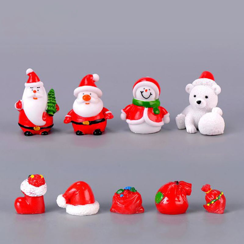 1 Pc Lovely Mini Christmas Bear Model Decoration Figure Toy Santa Claus Snowman DIY Resin Craft Small Ornaments