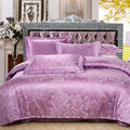 Ywxuege Purple Silk/Cotton Jacquard Bedding Set,Luxury 4PCS Queen King Size Satins Duvet/Comforter Cover Bedsheet Linens Sets