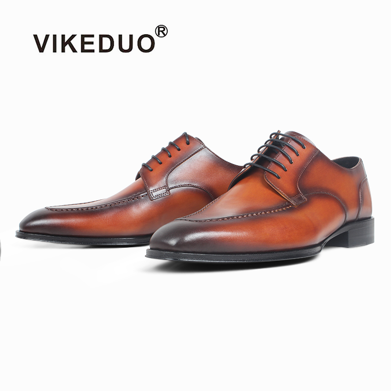 VIKEDUO 2019 New Stylish Dress Shoes Men Genuine Leather Sqaure Derby Wedding Office Formal Footwear Mans Brown Zapatos