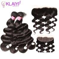Klaiyi волосы индийские объемные волны 4 пучки с кружевным фронтальным закрытием remy волосы плетение пучки с фронтальными прямыми волосами