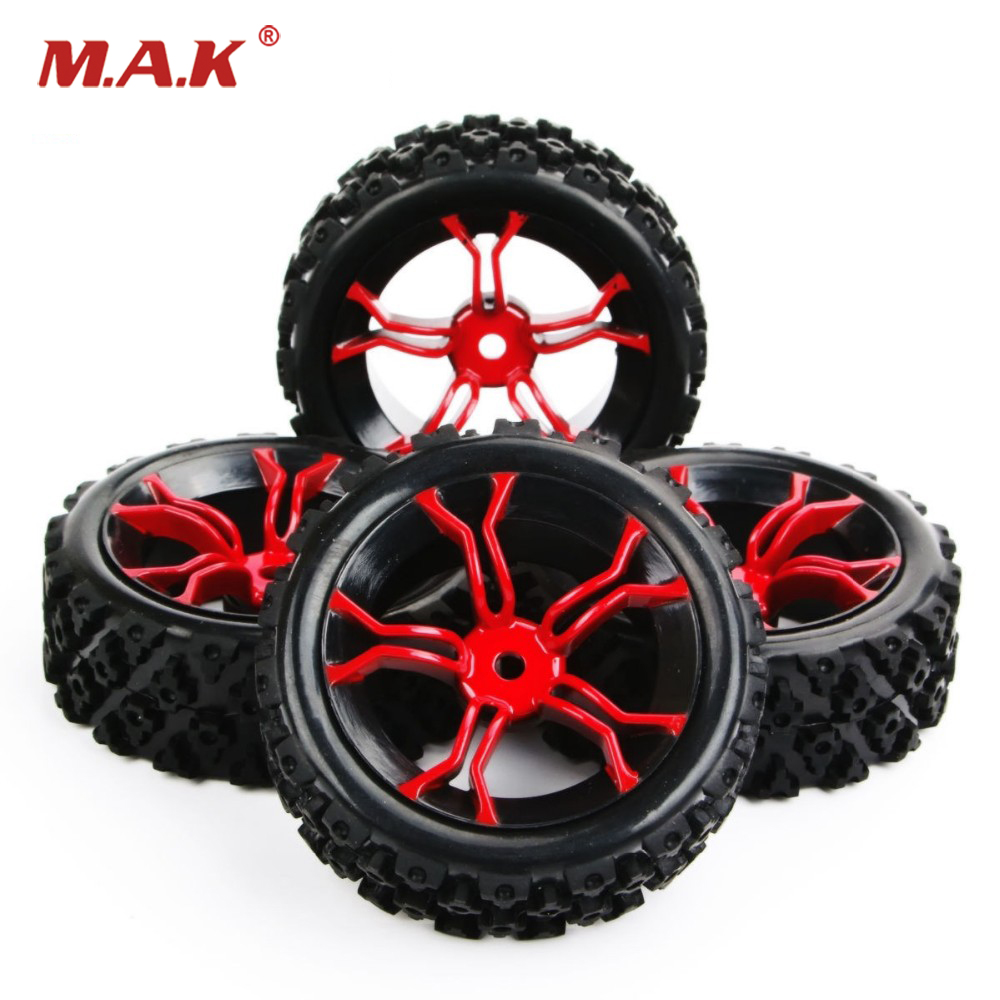 4pcs/set PP0487+MPNKR 1/10 RC Rally Racing Off Road Car Block Tyre &Wheel Set For Rc Model Car Kids Toys Collections Gifts E durable rc car defender frame set for