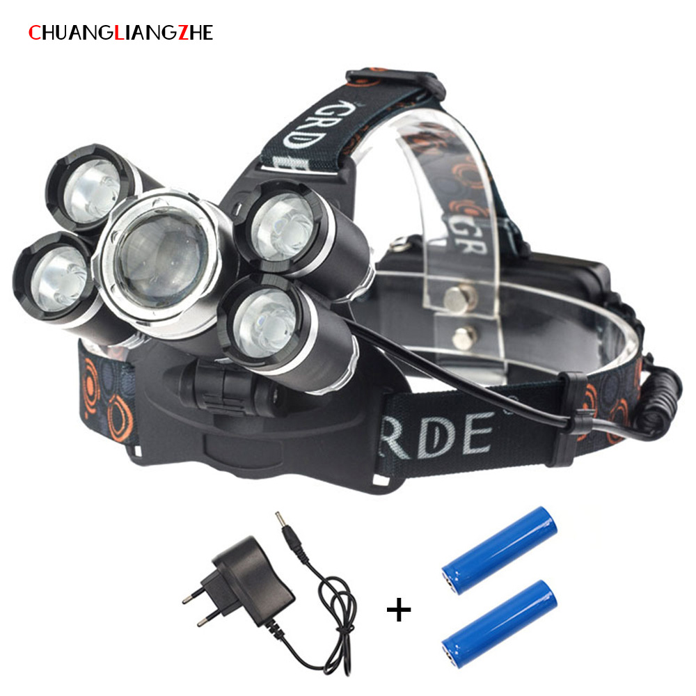 CHENGLIANGZHELED T6 Phares Batterie 18650 Rechargeable Phare Étanche Nuit De Pêche Tête-monté Éclairage Extérieur
